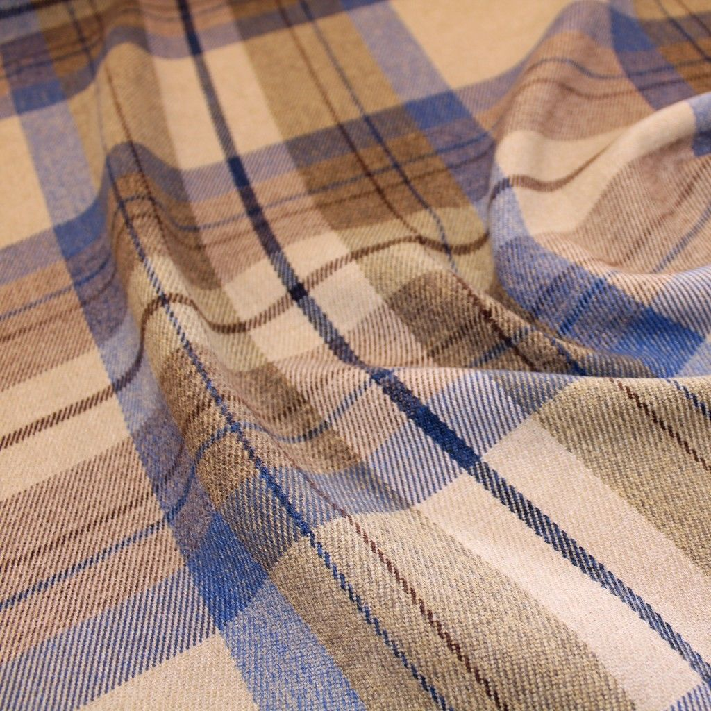 Blue Grey Wool Type Upholstery//Curtain Fabric Highland Check  Yellow